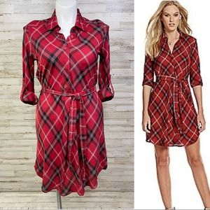Chelsea & Violet Red Plaid Tie Waist Shirtdress L